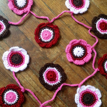 Hand Crochet Garland Small Doily Decoration,12 Flowers Doily Bunting in Apple Red, Bubblegum Pink, Cotton Candy Pink, and Chocolate Brown