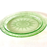 Anchor Hocking Green, Cameo Ballerina Serving Platter, Oval Shape, Side Handles, Raised Border, Vintage 1930's, Collectible Depression Glass