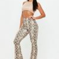 Missguided - Nude Snake Print Flared Pants
