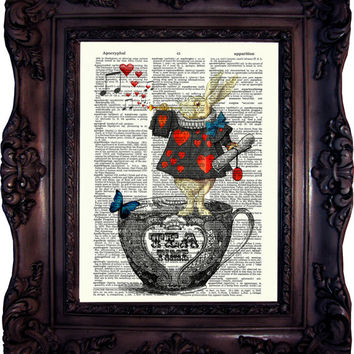 Alice in Wonderland Print. Alice in wonderland decoration. White Rabbit. Tea Time. Alice print on book page. Tea Party. Mad Hatter Code:038