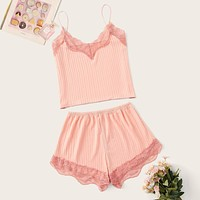 Lace Trim Rib Cami PJ Set
