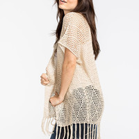 Full Tilt Open Stitch Fringe Womens Kimono Oatmeal  In Sizes