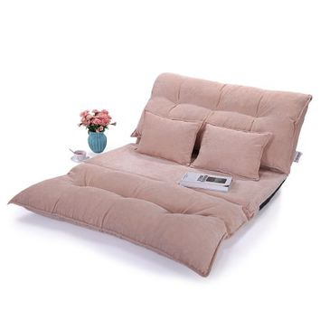 Lazymoon Adjustable Floor Chairs Sofa Bed Video Gaming Lounge Sofa Lazy Couch w/ 2 Pillow, Beige - Walmart.com