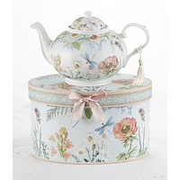 Dragonfly Porcelain Teapot in Gift Box