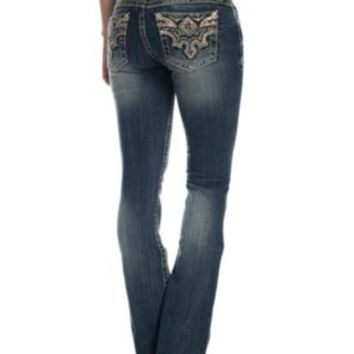 Miss Me Women's Medium Wash Sun-Kissed Phoenix Boot Cut Jeans