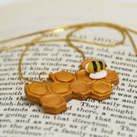 Hive, Honey Cells Necklace, Bee Hive Polymer Clay, Handmade