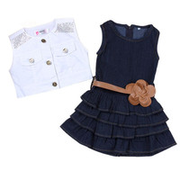 2pcs Baby girl Dress+Jacket Suits belt Jeans kids Summer Denim vest dress Models Vest Jeans Children Girls clothes Jeans 2-7 Y