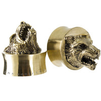 Timberwolf Relics Series Hand Carved Brass Plugs (22mm-27mm)