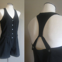 vintage 90s Romper / Overall Onsie / Black  Playsuit Shorts / Button Up