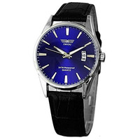 Swidu Blue Face Mens Watch with w/ Date and Black Leather Band