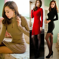 Details about Slender High Neck Keyhole Package Hip Womens Mini Dress Stretch Asymmetric Hem