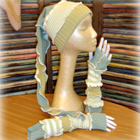 Winter Gift Set, Hat and Arm Warmers, Upcycled Clothing, Ski Hat, Tobbogan, Fingerless Gloves, Snowboarding Hat, Gift for Her