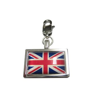 Thick Bordered United Kingdom Union Jack Great Britain Flag Pendant Zipper Pull Charm