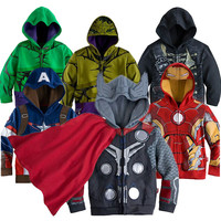 3-10yrs Boy's Sweatshirt Captain America Avengers Iron Man The Hulk Children Hoodies Coat Kids Long Sleeve Outwear Boys Girls