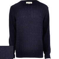 River Island MensBlue neppy cable knit sweater