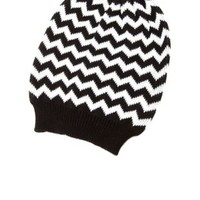 Slouchy Chevron Knit Beanie by Charlotte Russe - Black/White