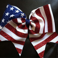 Stars And Stripes Glitter Cheer Bow