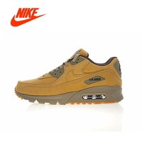 Original New Arrival Authentic Nike Air Max 90 Premium Men's Running Shoes Sport Outdoor Sneakers Winter Flax 683282-700