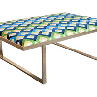 """Taylor Burke Home, Kelly 51"""" Brass Coffee Table, Blue/Green, Cocktail Table"""