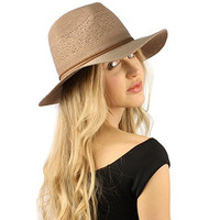 Summer Light weight Knit Crushable Fedora Panama Derby Beach Pool Sun Hat Taupe