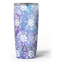 White Abstract Flowers Over Purple and Blue Cloud Mix - Skin Decal Vinyl Wrap Kit compatible with the Yeti Rambler Cooler Tumbler Cups