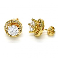 Gold Layered 02.195.0081 Stud Earring, with White Cubic Zirconia, Polished Finish, Golden Tone