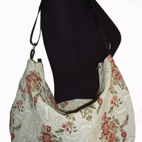 Rose pattern hobo crossbody bag