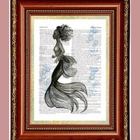 Black Mermaid Water Bubbles Art Print Dictionary Page Upcycled Vintage Page Print Book Art Print Black Mermaid Print cp157