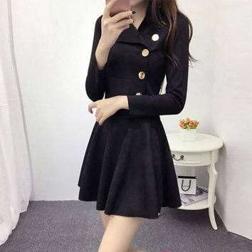 Suede dress fall and winter clothes Korean Slim European fashion long-sleeved A-line dress