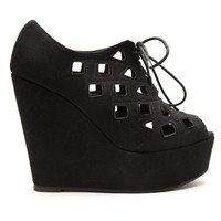 Faux Suede Lace-Up Wedges In Black