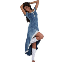 New Arrival 2017 Sexy High Low Denim Dresses Fashion Intense Intuition Denim Blue Dress LC60562 Short Sleeve Knee-Length Dress