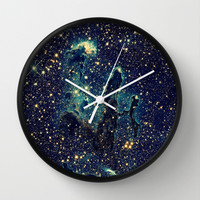 Blue & Gold Stars Space Galaxy Print Wall Clock by 2sweet4words Designs