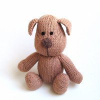 Hand Knit Dog - Childrens Stuffed Animal Plush Doll - Small Softie Kids Toy Knit Toy - Brown Puppy Knit Animal