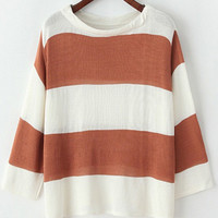 Khaki White Striped Knit Long Sleeve Sweater