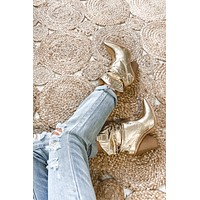 All Hail The Queen Metallic Gold Western Booties