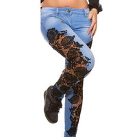 2XL 3XL Skinny Jeans Woman Lace Patchwork Stretchy Autumn Denim Pants Women Hollow Out Floral Printed Ripped Jeans Mujer Blue