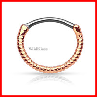 Rose Gold Twisted Roped Line 316L Surgical Steel Round Septum Clicker 16g Earring Cartilage Piercing Tragus Ring Conch Nose Septum Ring