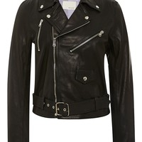 Mult-Zip Leather Moto Jacket