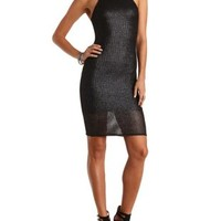 Metallic Mesh Racer Front Dress by Charlotte Russe
