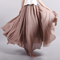 2017 Fashion Brand Women Linen Cotton Long Skirts Elastic Waist Pleated Maxi Skirts Beach Boho Vintage Summer Skirts Faldas Saia