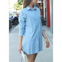 Women Casual Chambray Button Down Distressed Denim Trim Tunic Shirt Dress or Jacket