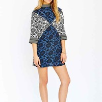 Native Rose Mix-Print Dress- Blue Multi