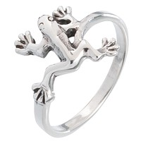 Frog Stretching Sterling Silver Ring