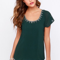 Quite Continental Forest Green Beaded Top