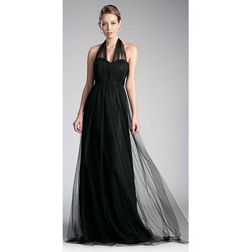 Tulle Infinity Style Long Bridesmaid Dress Black