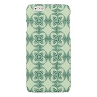 Geometric Floral Pattern in Green Glossy iPhone 6 Case