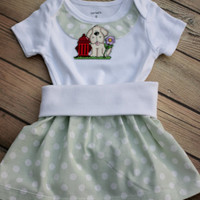 Puppy Dog, Onesuit Skirt set, Dog Onesuit, Dogs Onesuit, Puppies,  baby skirt, baby girl bodysuit, Custom baby outfit, toddler