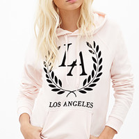 FOREVER 21 LA Graphic Hoodie Light Pink/Black