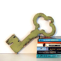 Skeleton Key 1 (Pictured in Sage) Pine Wood Sign Wall Decor Rustic Americana French Country Chic