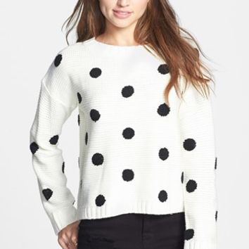 Elodie Embroidered Dot Sweater (Juniors) | Nordstrom